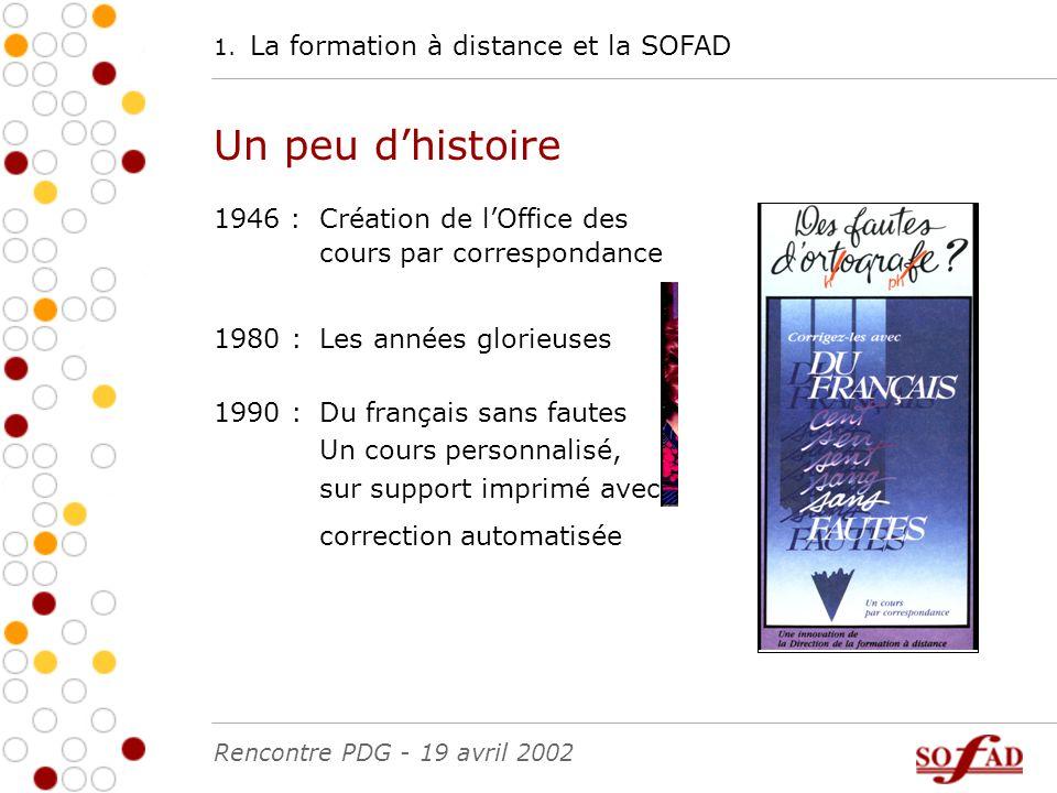 Plan de la présentation Rencontre PDG - 19 avril 2002 La formation à distance et la SOFAD1.