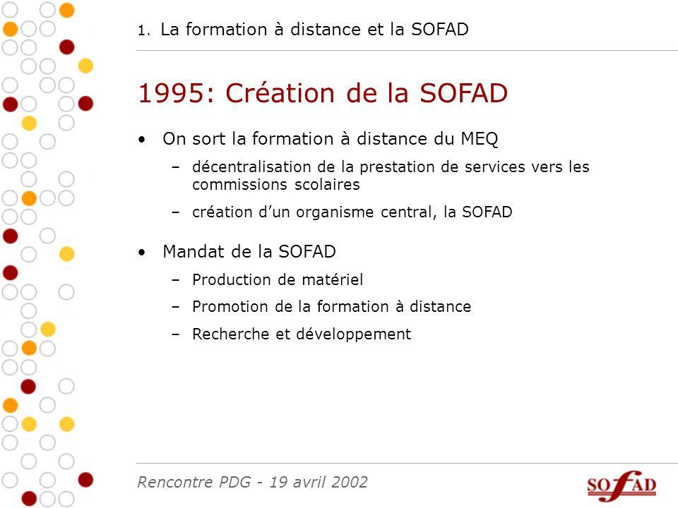 1. La formation à distance et la SOFAD 1995: Création de la SOFAD On sort la formation à distance du MEQ –décentralisation de la prestation de service