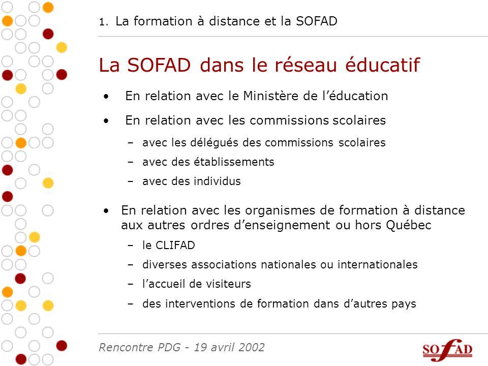 1. La formation à distance et la SOFAD La SOFAD dans le réseau éducatif En relation avec le Ministère de l'éducation En relation avec les commissions