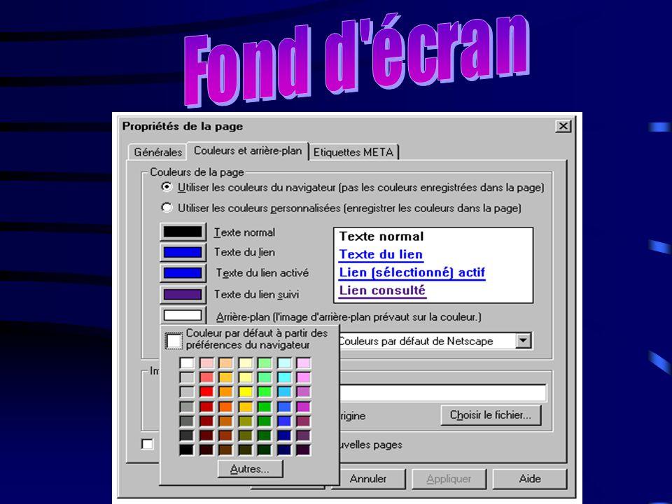 Les fonds d 'écran Les fonds d 'écran, vous pouvez les prendre sur le logiciel par exemple: si nous utilisons Netscape Composer, nous n 'avons qu 'à peser sur le bouton droit de la souris et nous allons sur propriété de la page.