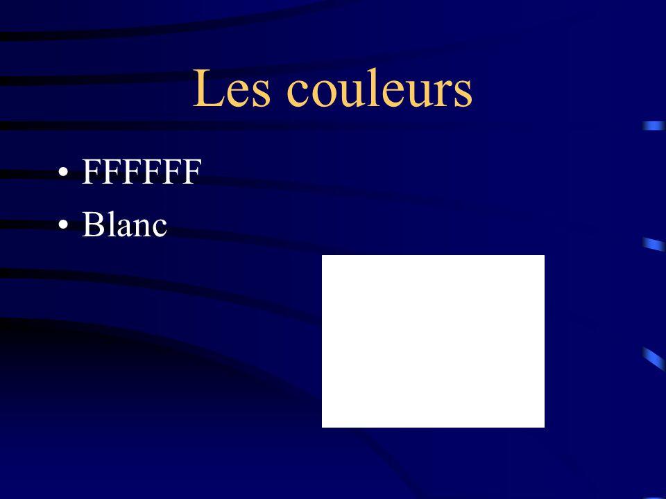 Les couleurs FFFFFF Blanc