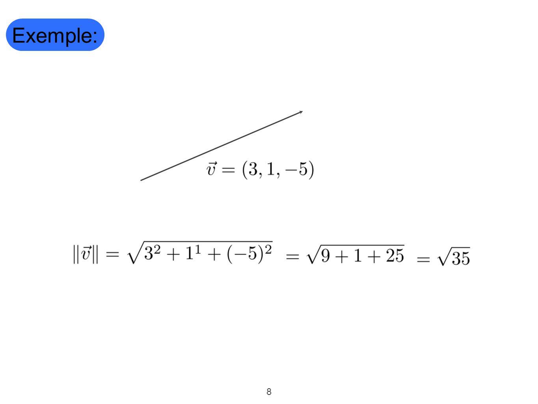 9 Définition: Soit, un espace affine muni d'un repère orthonormé, la distance entre deux points A et B, notée est la longueur du vecteur.