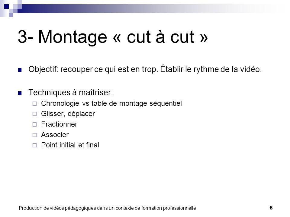Production de vidéos pédagogiques dans un contexte de formation professionnelle6 3- Montage « cut à cut » Objectif: recouper ce qui est en trop.