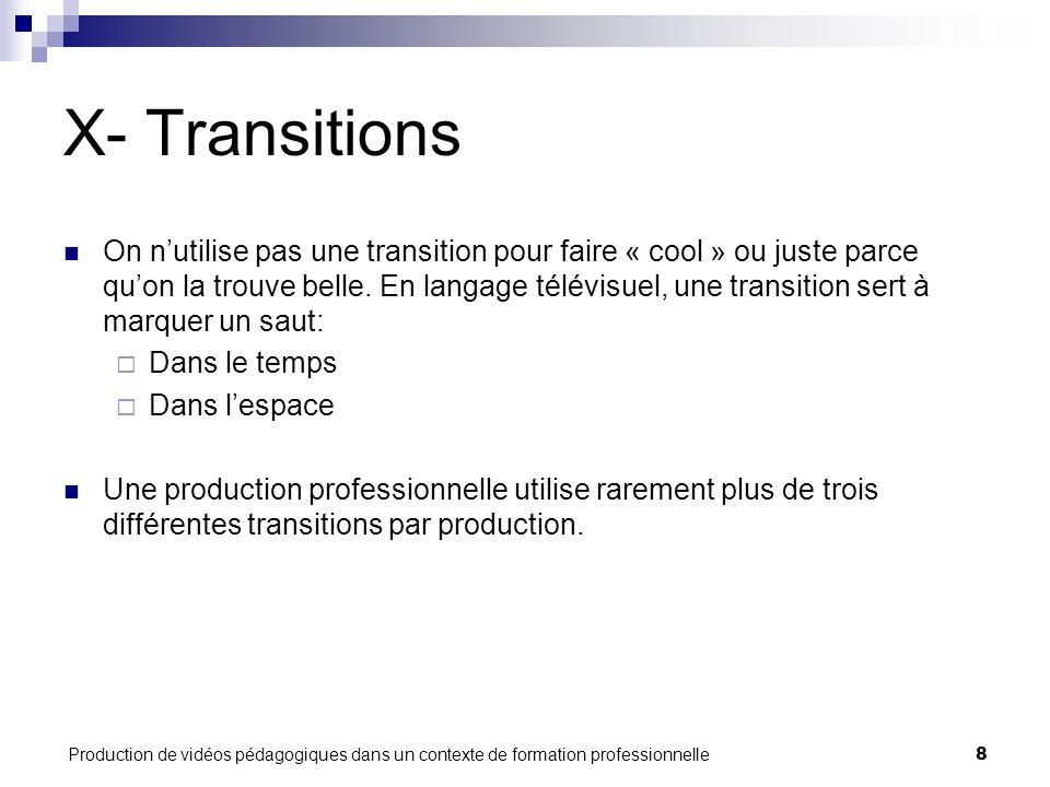 Production de vidéos pédagogiques dans un contexte de formation professionnelle8 X- Transitions On n'utilise pas une transition pour faire « cool » ou juste parce qu'on la trouve belle.