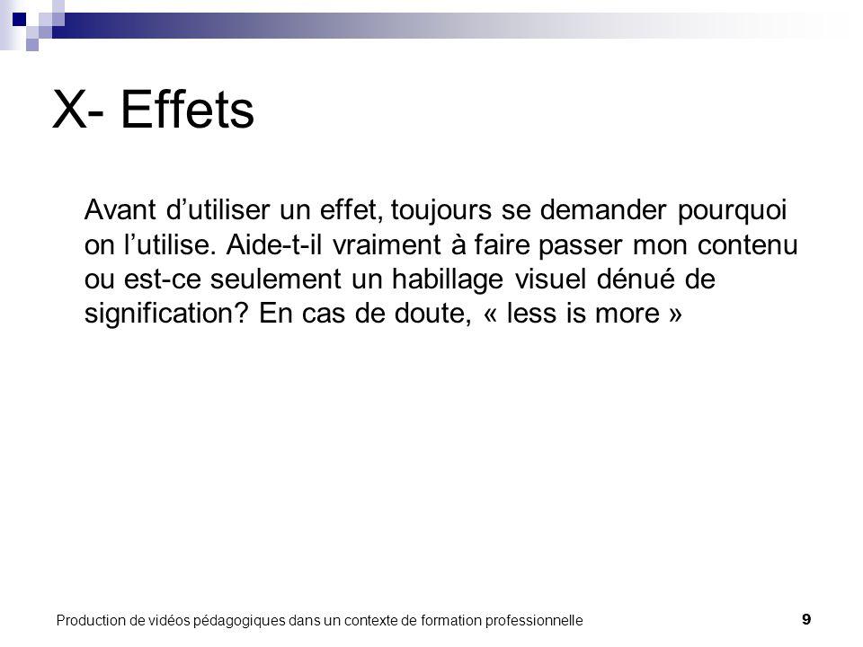 Production de vidéos pédagogiques dans un contexte de formation professionnelle9 X- Effets Avant d'utiliser un effet, toujours se demander pourquoi on l'utilise.