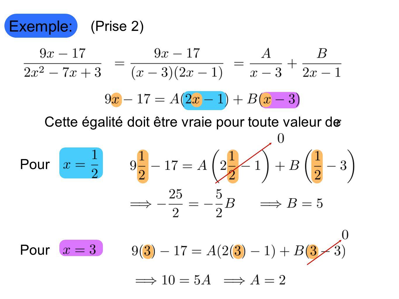 Exemple: (Prise 2) Pour Cette égalité doit être vraie pour toute valeur de