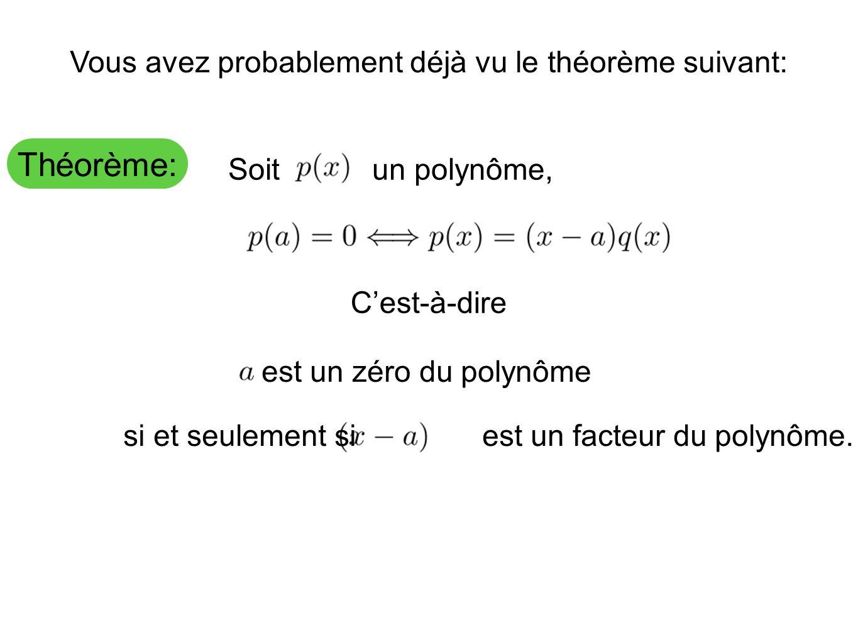 Théorème: Vous avez probablement déjà vu le théorème suivant: Soit un polynôme, C'est-à-dire est un zéro du polynôme si et seulement si est un facteur