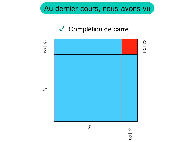Au dernier cours, nous avons vu ✓ Complétion de carré