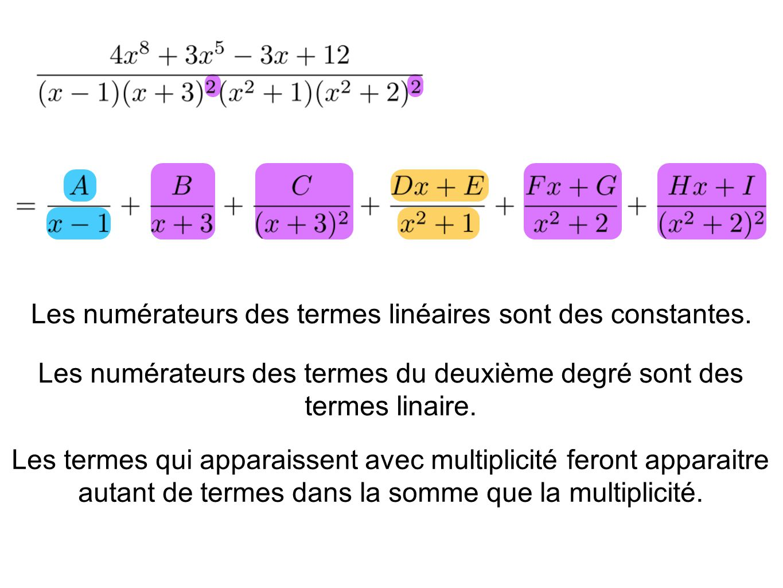 Les numérateurs des termes linéaires sont des constantes. Les numérateurs des termes du deuxième degré sont des termes linaire. Les termes qui apparai