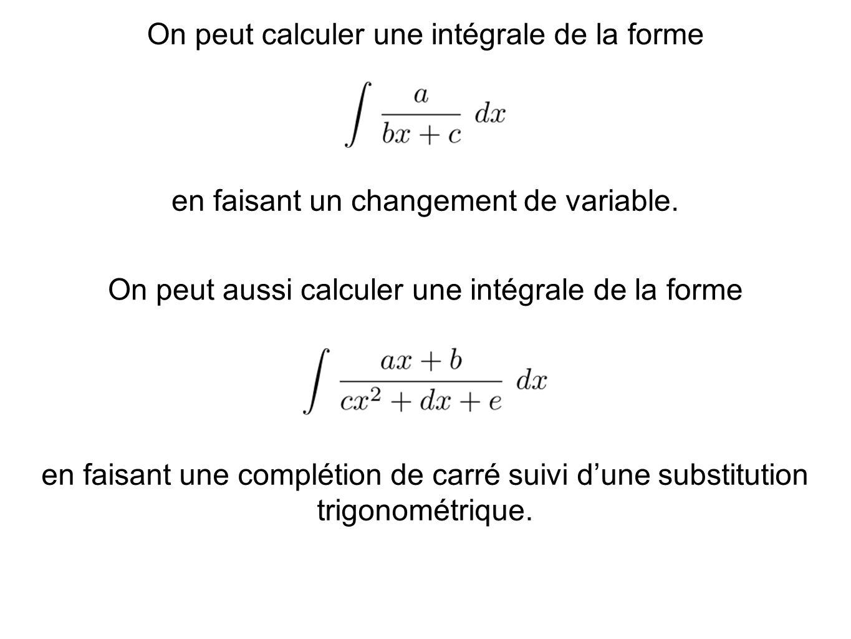 On peut calculer une intégrale de la forme en faisant un changement de variable. On peut aussi calculer une intégrale de la forme en faisant une compl