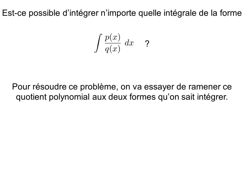 Est-ce possible d'intégrer n'importe quelle intégrale de la forme ? Pour résoudre ce problème, on va essayer de ramener ce quotient polynomial aux deu