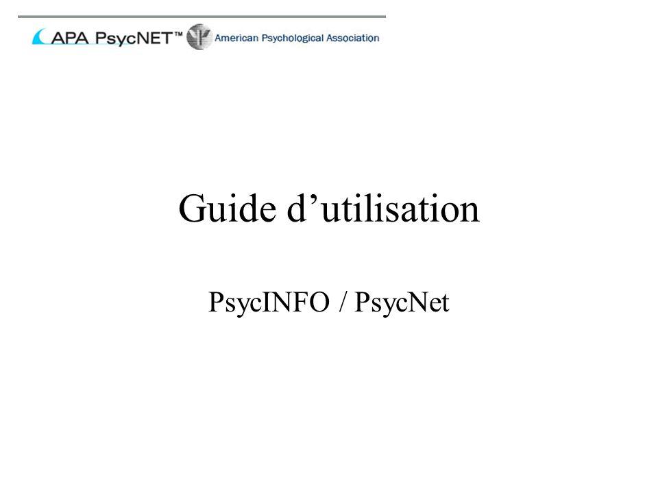 Guide d'utilisation PsycINFO / PsycNet