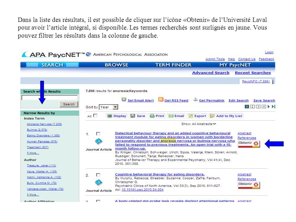 Dans la liste des résultats, il est possible de cliquer sur l'icône «Obtenir» de l'Université Laval pour avoir l'article intégral, si disponible.