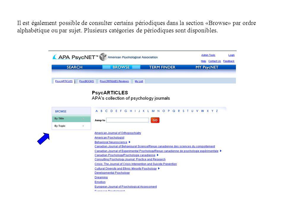 Il est également possible de consulter certains périodiques dans la section «Browse» par ordre alphabétique ou par sujet.