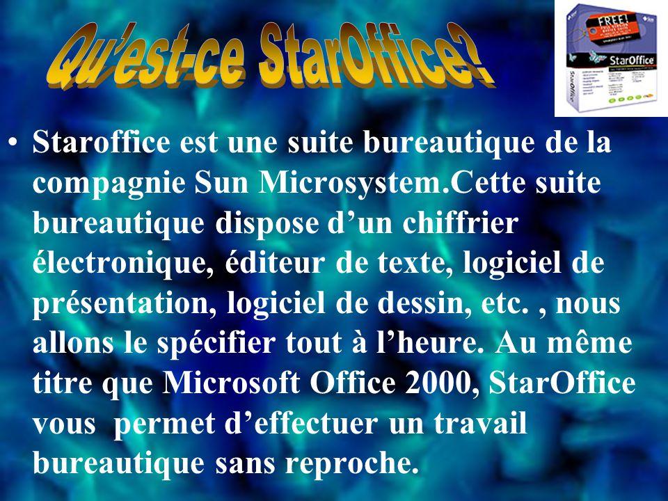 Staroffice est une suite bureautique de la compagnie Sun Microsystem.Cette suite bureautique dispose d'un chiffrier électronique, éditeur de texte, logiciel de présentation, logiciel de dessin, etc., nous allons le spécifier tout à l'heure.
