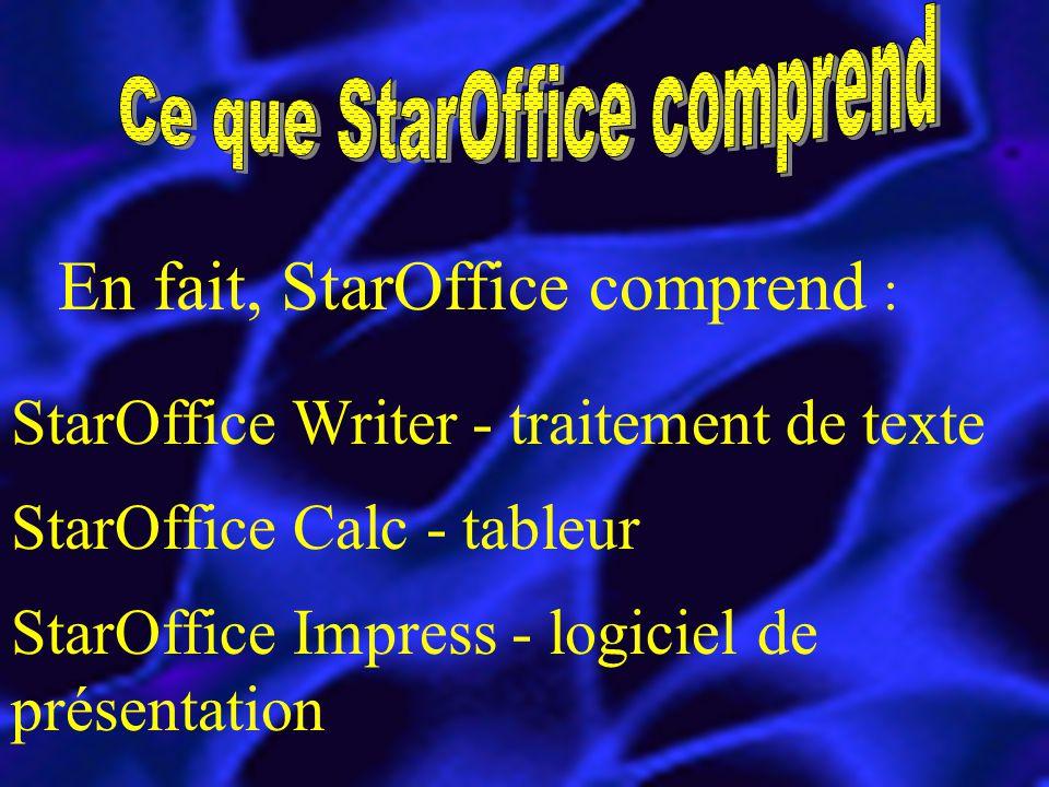 En fait, StarOffice comprend : StarOffice Writer - traitement de texte StarOffice Calc - tableur StarOffice Impress - logiciel de présentation