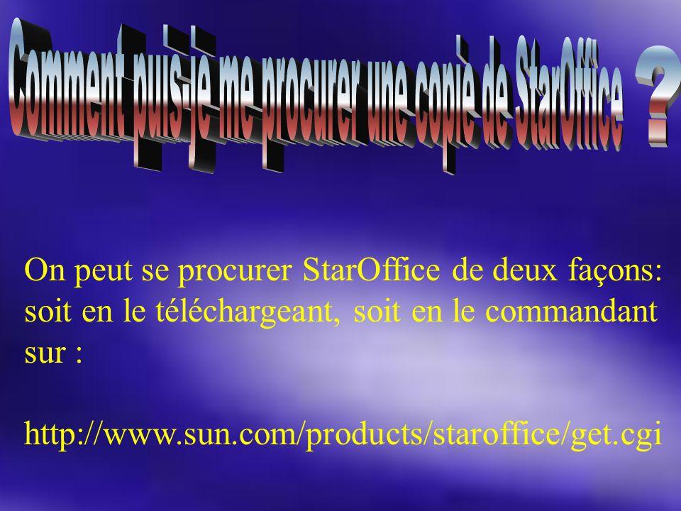 On peut se procurer StarOffice de deux façons: soit en le téléchargeant, soit en le commandant sur : http://www.sun.com/products/staroffice/get.cgi
