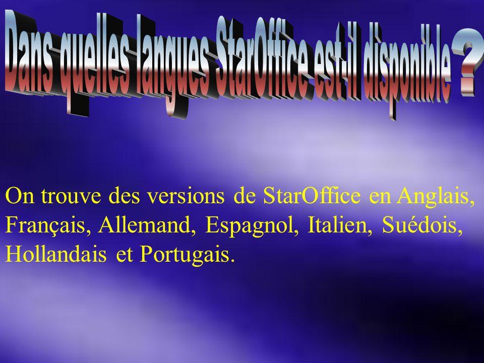 On trouve des versions de StarOffice en Anglais, Français, Allemand, Espagnol, Italien, Suédois, Hollandais et Portugais.