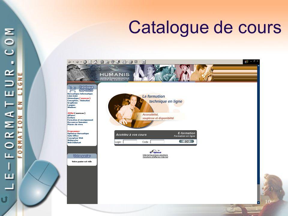 10 Catalogue de cours