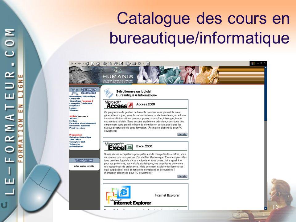 12 Catalogue des cours en bureautique/informatique