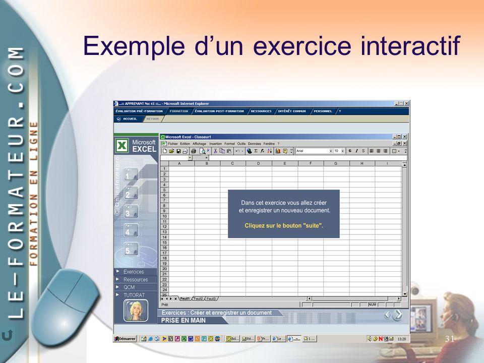 31 Exemple d'un exercice interactif