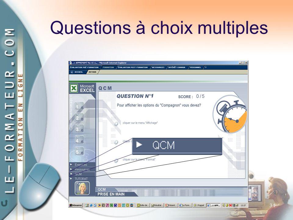 34 Questions à choix multiples