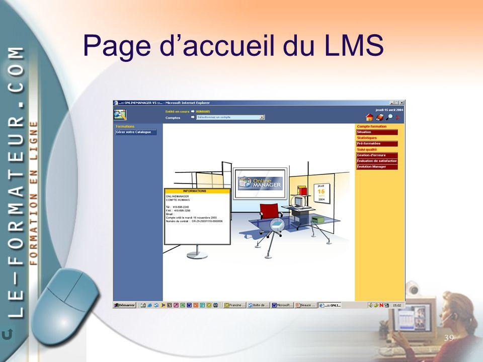 39 Page d'accueil du LMS