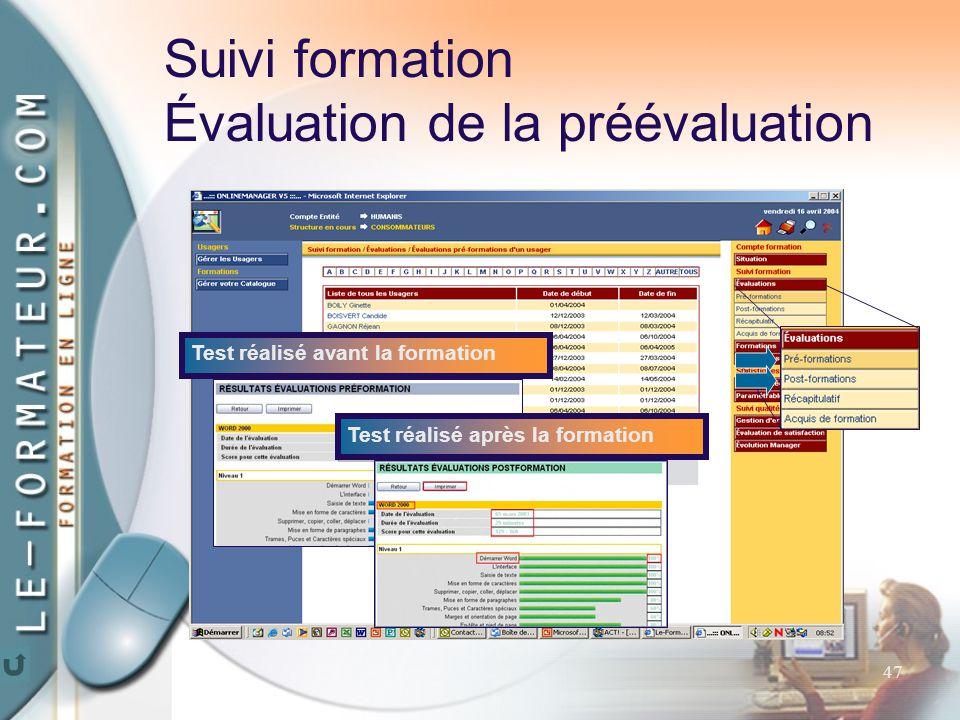 47 Test réalisé avant la formationTest réalisé après la formation Suivi formation Évaluation de la préévaluation