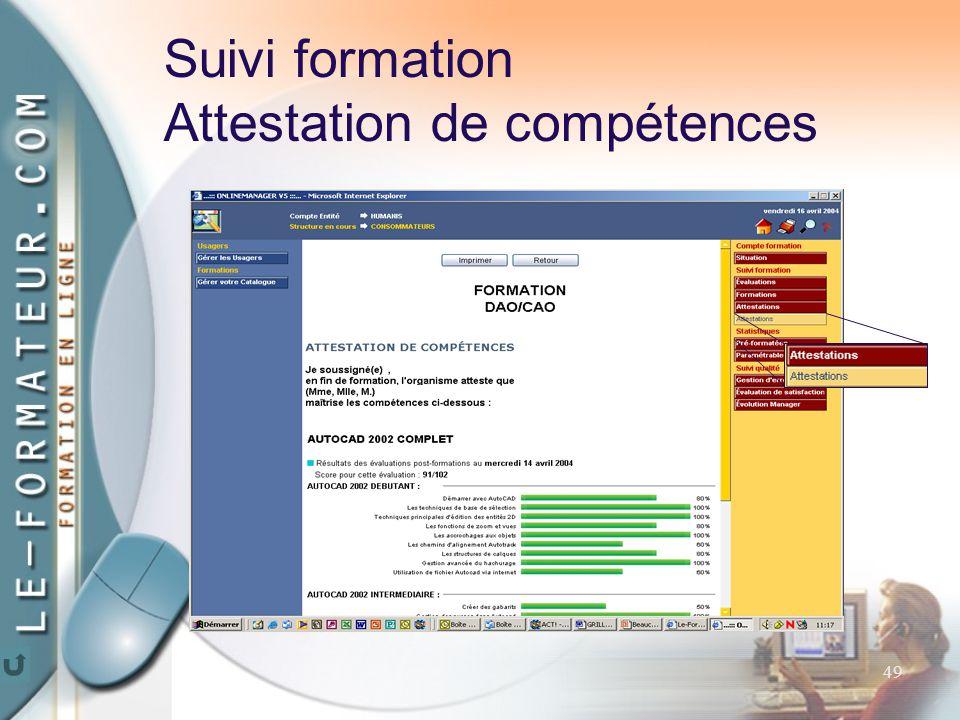 49 Suivi formation Attestation de compétences