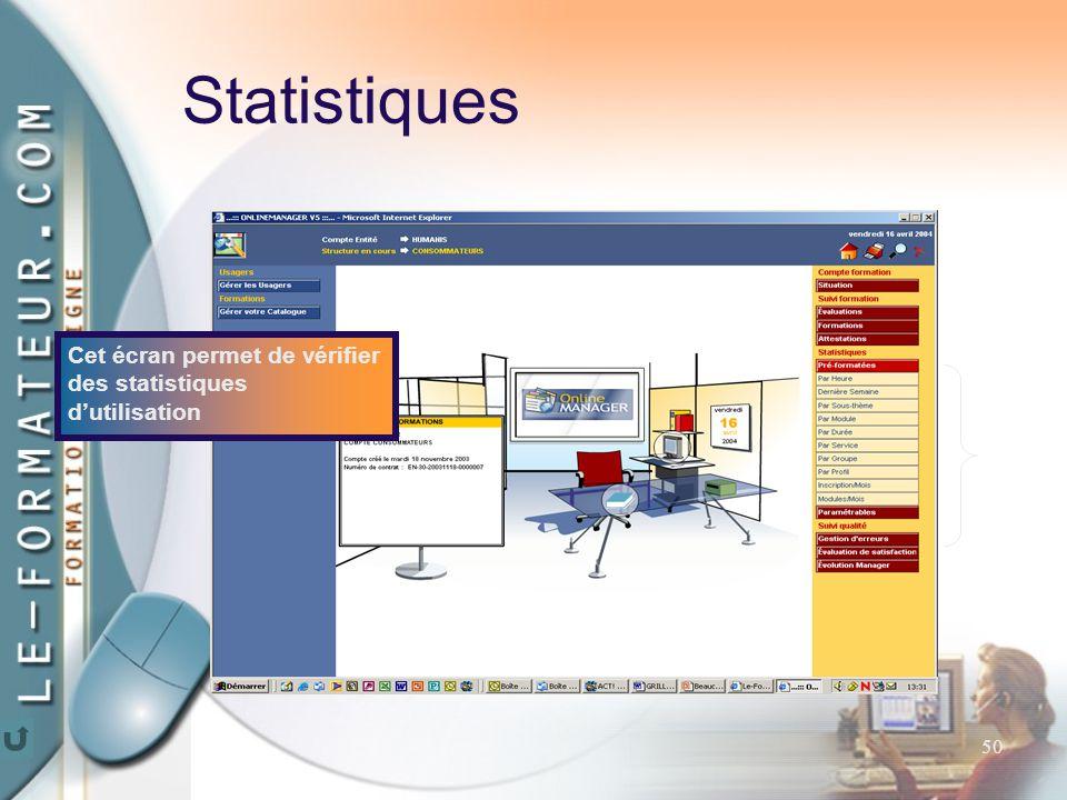 50 Cet écran permet de vérifier des statistiques d'utilisation Statistiques
