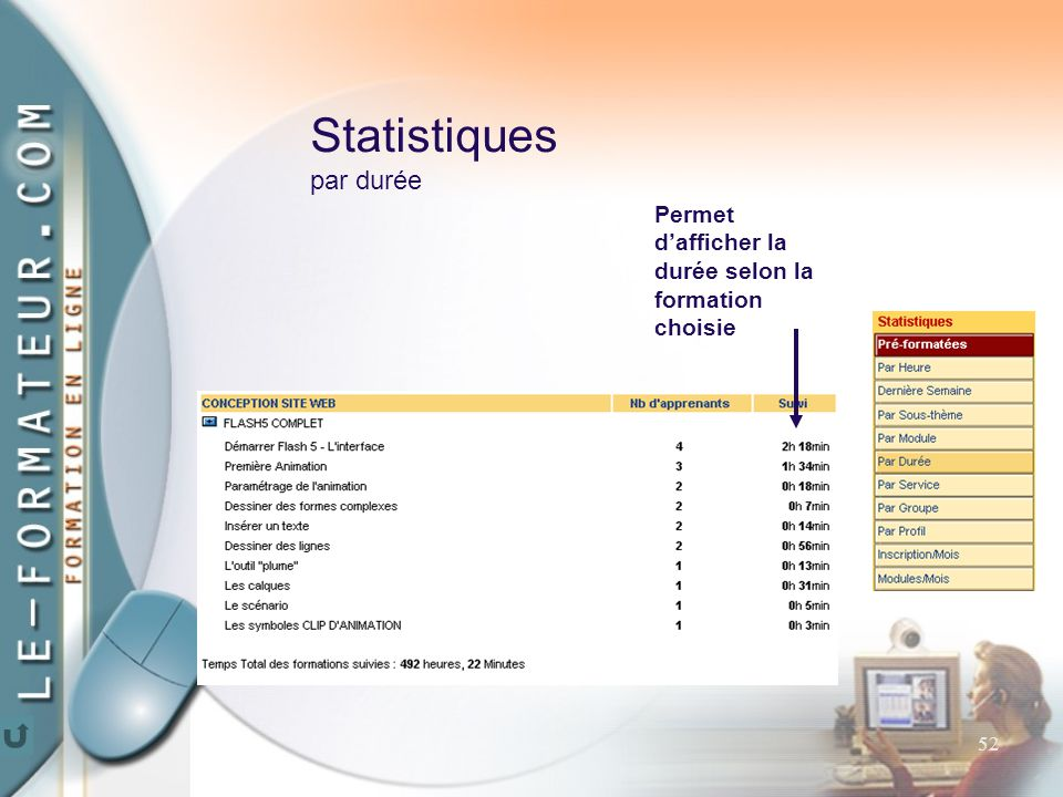 52 Statistiques par durée Permet d'afficher la durée selon la formation choisie