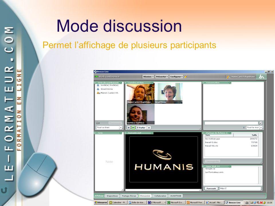 67 Mode discussion Permet l'affichage de plusieurs participants