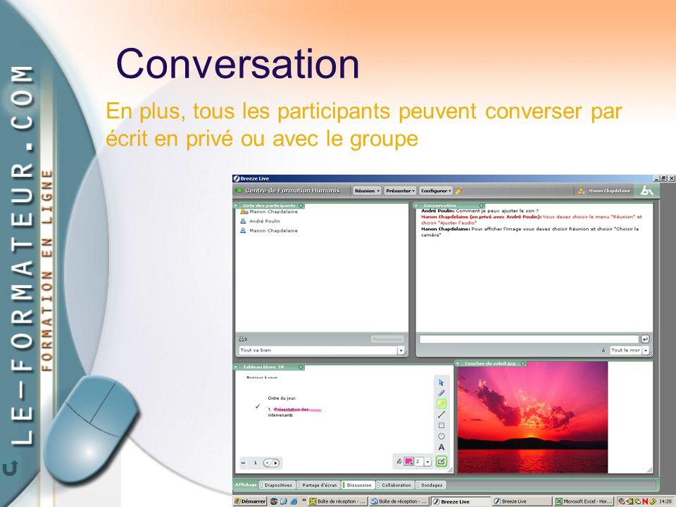 71 Conversation En plus, tous les participants peuvent converser par écrit en privé ou avec le groupe
