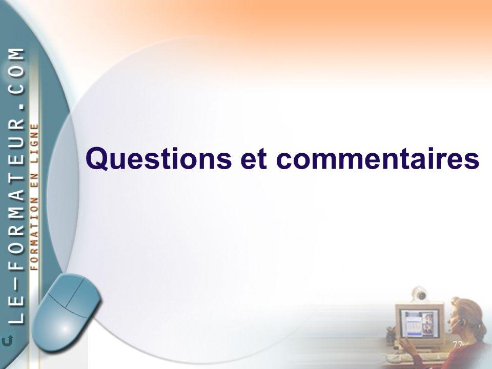77 Questions et commentaires