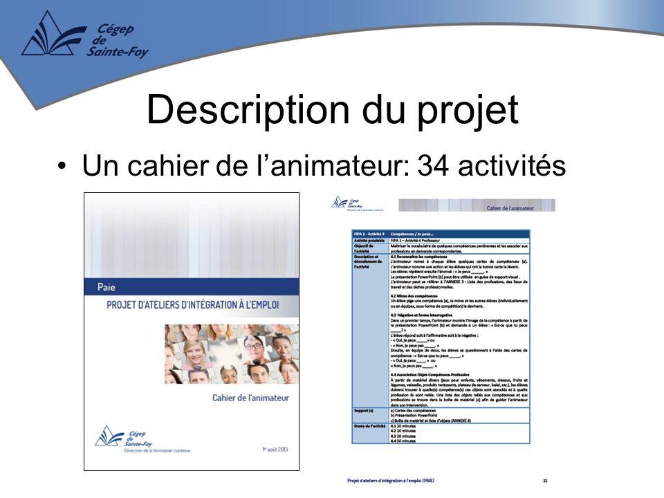 Un cahier de l'animateur: 34 activités Description du projet