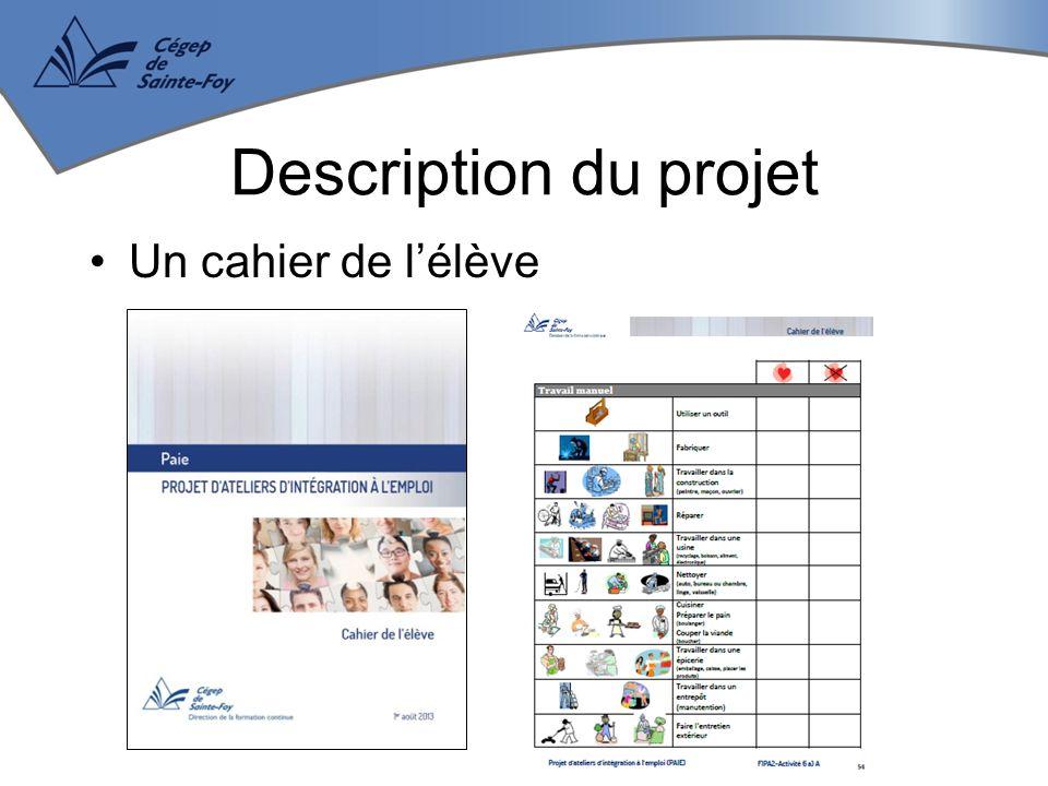 Un cahier de l'élève Description du projet
