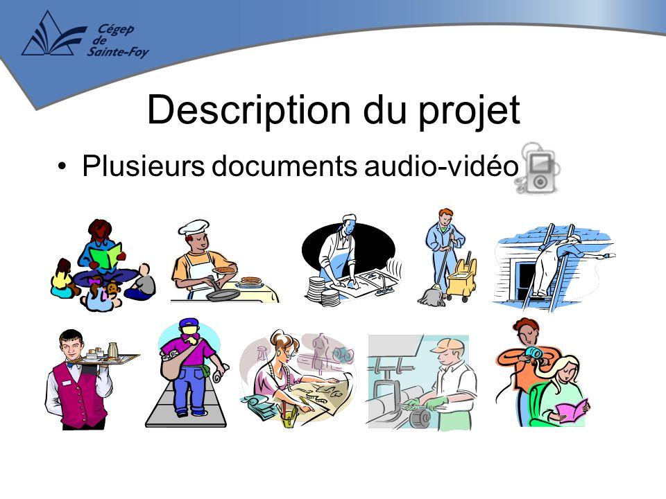 Plusieurs documents audio-vidéo Description du projet
