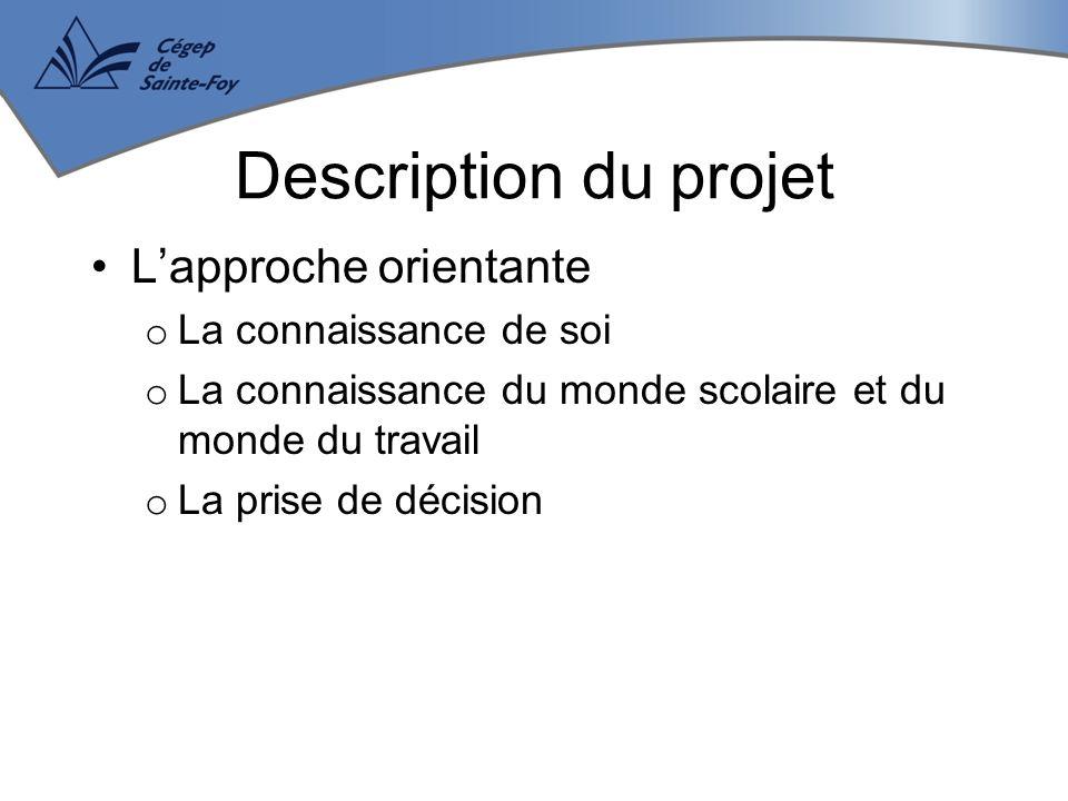 L'approche orientante o La connaissance de soi o La connaissance du monde scolaire et du monde du travail o La prise de décision Description du projet