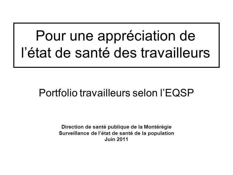 Pour une appréciation de l'état de santé des travailleurs Portfolio travailleurs selon l'EQSP Direction de santé publique de la Montérégie Surveillance de l'état de santé de la population Juin 2011