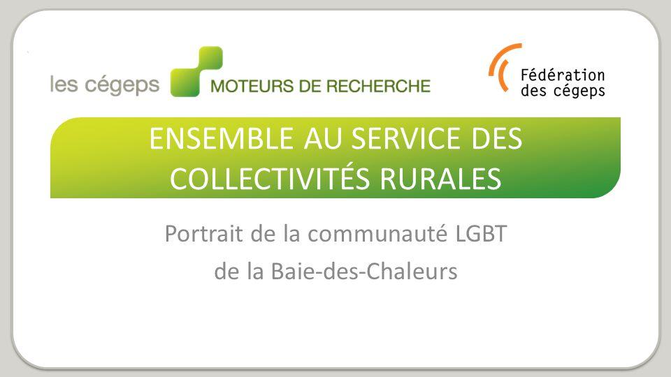 ENSEMBLE AU SERVICE DES COLLECTIVITÉS RURALES Portrait de la communauté LGBT de la Baie-des-Chaleurs