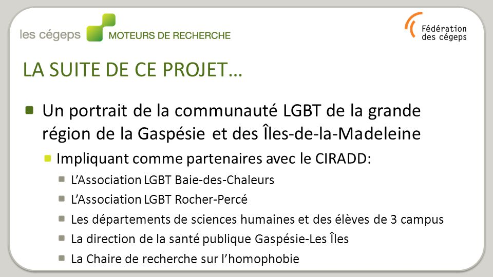 LA SUITE DE CE PROJET… Un portrait de la communauté LGBT de la grande région de la Gaspésie et des Îles-de-la-Madeleine Impliquant comme partenaires a