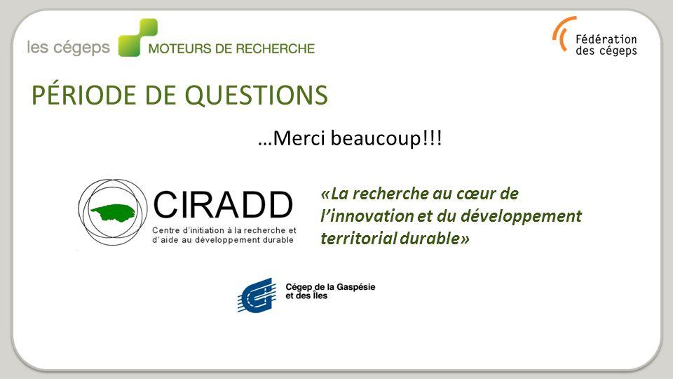 PÉRIODE DE QUESTIONS …Merci beaucoup!!! «La recherche au cœur de l'innovation et du développement territorial durable»