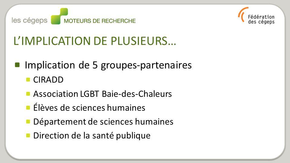 Implication de 5 groupes-partenaires CIRADD Association LGBT Baie-des-Chaleurs Élèves de sciences humaines Département de sciences humaines Direction