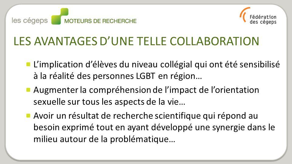 LES AVANTAGES D'UNE TELLE COLLABORATION L'implication d'élèves du niveau collégial qui ont été sensibilisé à la réalité des personnes LGBT en région…