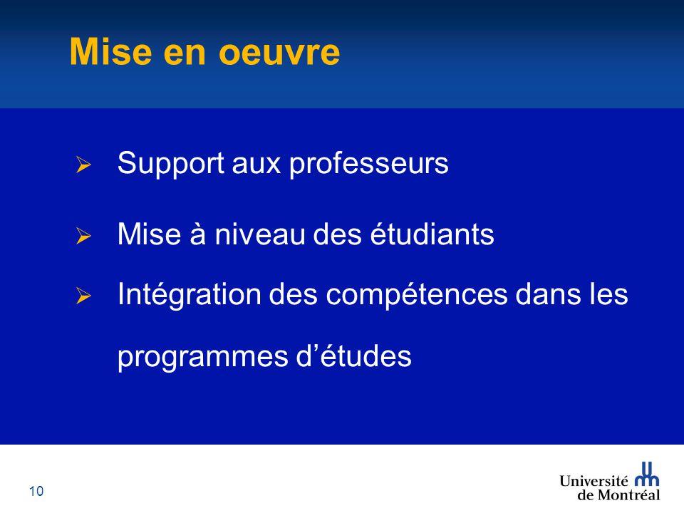 10 Mise en oeuvre  Support aux professeurs  Mise à niveau des étudiants  Intégration des compétences dans les programmes d'études Mise en oeuvre
