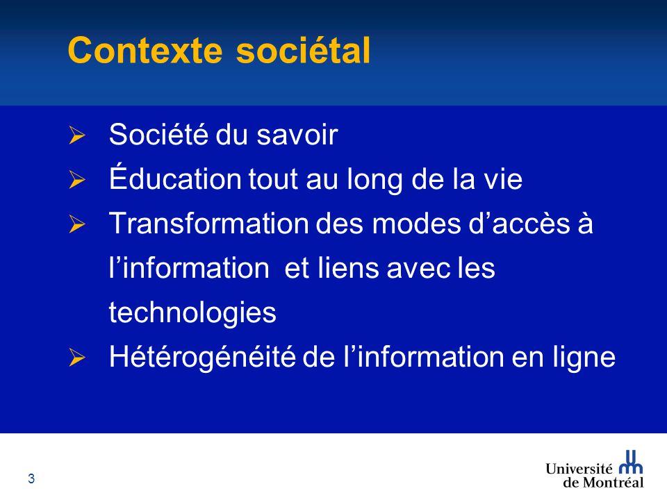 3 Contexte  Société du savoir  Éducation tout au long de la vie  Transformation des modes d'accès à l'information et liens avec les technologies  Hétérogénéité de l'information en ligne Contexte sociétal