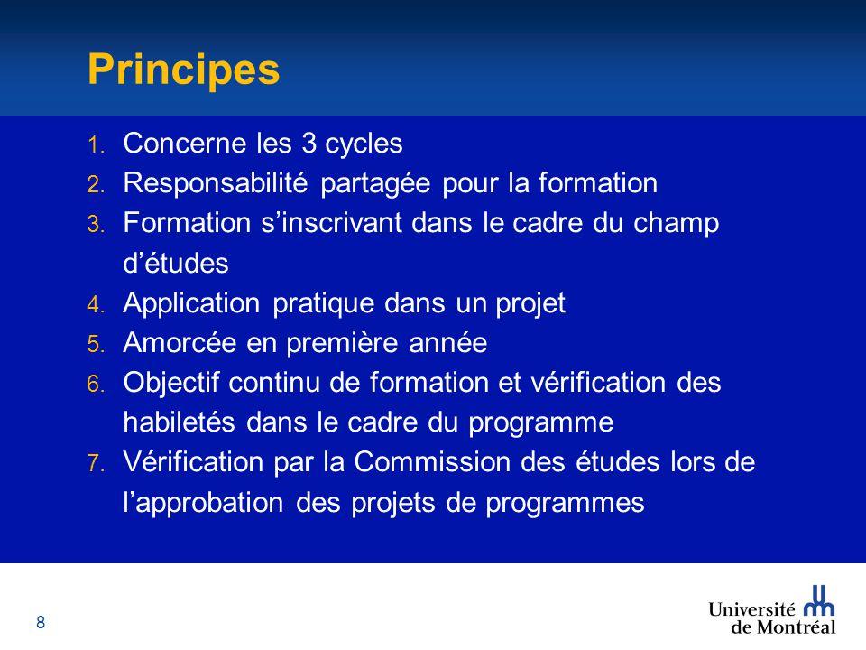 8 Principes 1. Concerne les 3 cycles 2. Responsabilité partagée pour la formation 3.