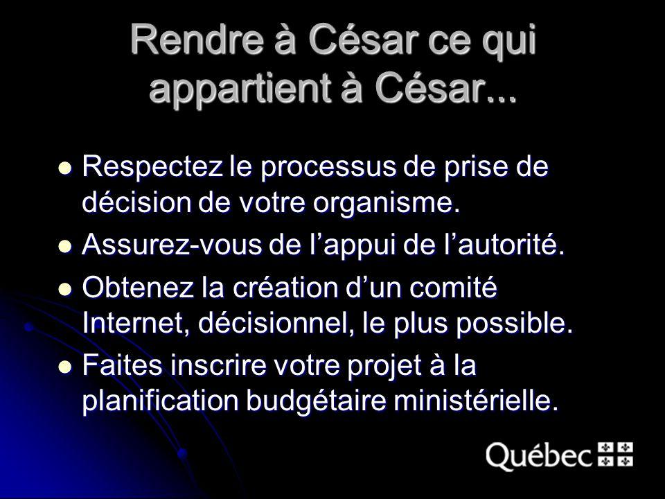 Rendre à César ce qui appartient à César...