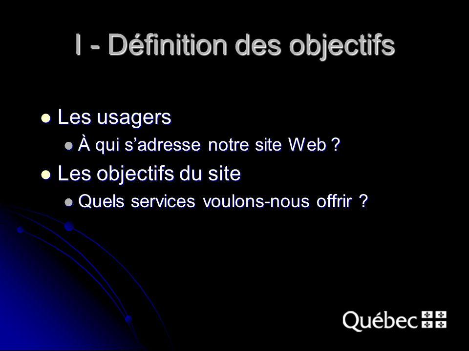 I - Définition des objectifs Les usagers Les usagers À qui s'adresse notre site Web .