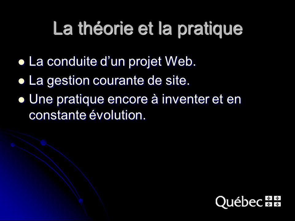 La théorie et la pratique La conduite d'un projet Web.